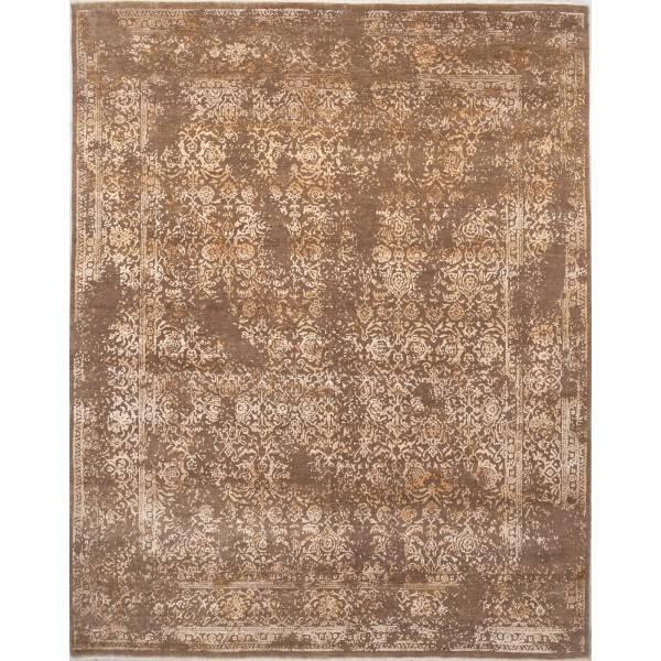 Jedwabno-wełniany, orientalny, ręcznie tkany indyjski dywan