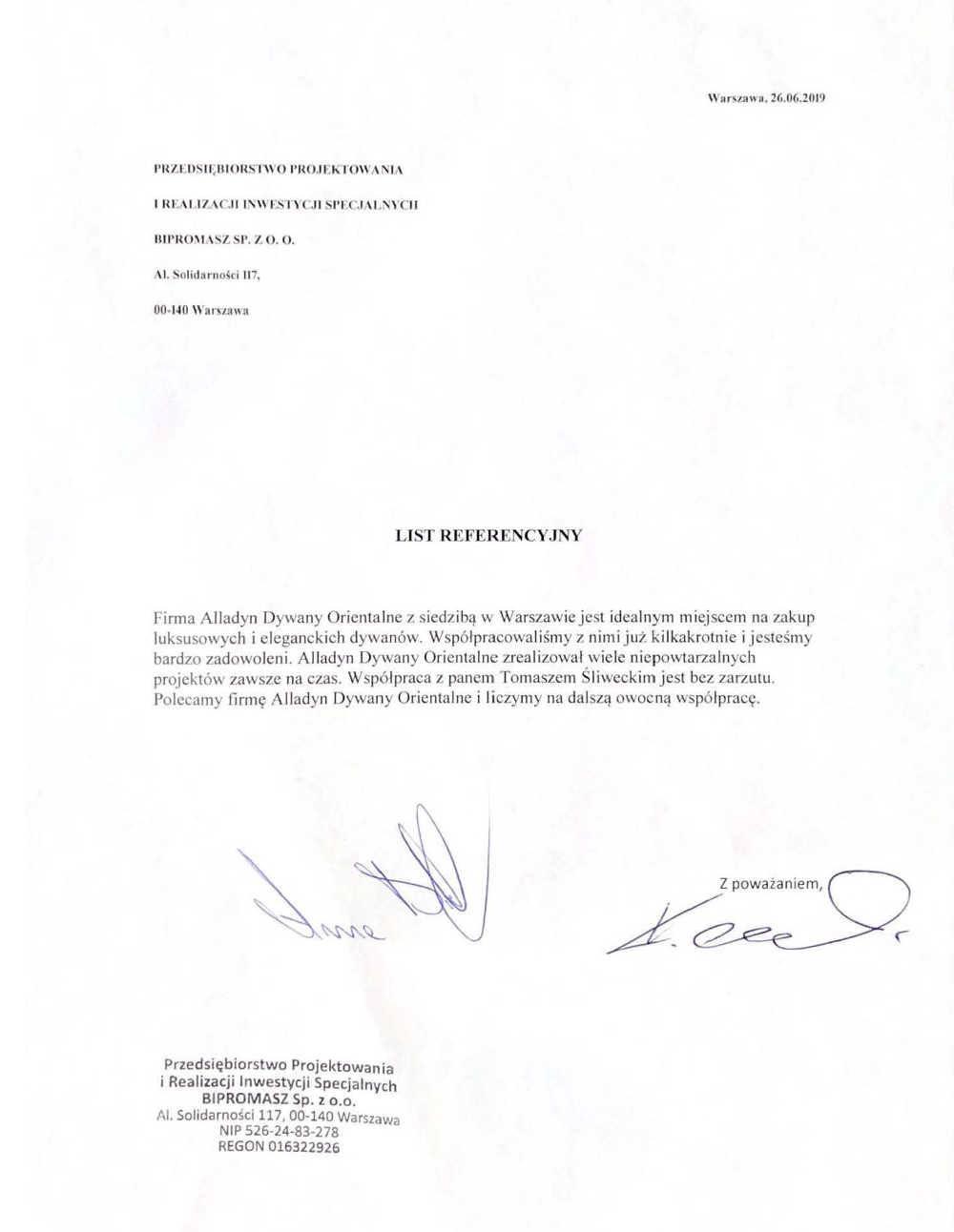 BIPROMASZ sp. z o.o. - referencje